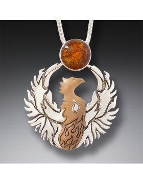 Mammoth Ivory and Amber Phoenix Pendant – Phoenix Rising