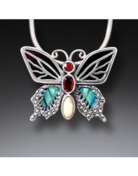 Paua Jewelry Garnet Butterfly Necklace with Black Mussel and Fossilized Walrus Tusk - Transition II