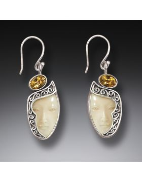 Mammoth Ivory Goddess Citrine Drop Earrings, Handmade Silver - Enigma