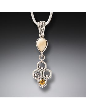 Fossilized Walrus Ivory, Citrine, and Silver Honeycomb Necklace – Honeycomb