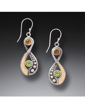 Fossilized Walrus Ivory Tusk Infinity Earrings Silver with Citrine and Peridot - Infinity