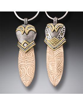 Handmade Silver Mammoth Ivory Tusk Maori Design Pendant Necklace - Maori Spear