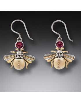 14kt Gold Fill Garnet Ancient Ivory Silver Bee Earrings, Handmade - Bees