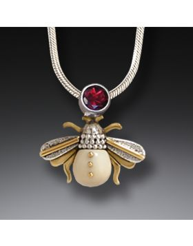 Fossilized Walrus Tusk Silver Bee Pendant Necklace, 14kt Gold Fill and Garnet - Bee