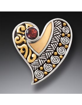 Fossilized Walrus Tusk Silver Heart Pin or Pendant with Garnet - Heart