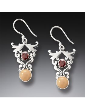 Handmade Silver Fossilized Walrus Ivory Earrings with Garnet - Life's Passion
