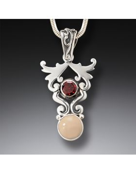 Mammoth Ivory Jewelry Silver Garnet Necklace, Handmade - Life's Passion