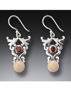 Handmade Silver Mammoth Ivory Earrings with Garnet - Life's Passion