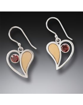 Handmade Silver Fossilized Walrus Ivory Earrings with Garnet - Heart Song