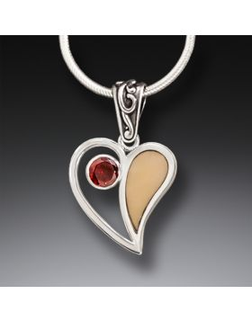 Fossilized Walrus Ivory Heart Necklace with Garnet, Handmade Silver - Heart Song