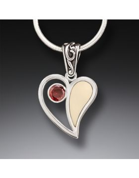 Mammoth Ivory Heart Necklace with Garnet, Handmade Silver - Heart Song