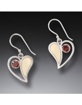Handmade Silver Mammoth Ivory Earrings with Garnet - Heart Song