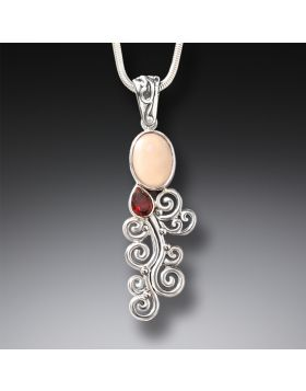 Mammoth Ivory Tusk Garnet Silver Necklace, Handmade - Heart Song II