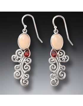 Handmade Silver Mammoth Ivory Earrings with Garnet - Heart Song II