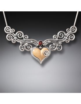 Fossilized Walrus Ivory Heart Necklace with Sterling Silver and Garnet Accent