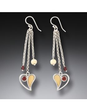 Fossilized Walrus Ivory Earrings with Garnet, Handmade Silver - Heart Song Dangles
