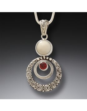 Mammoth Ivory Jewelry Garnet Pendant Necklace in Handmade Silver - Ripples