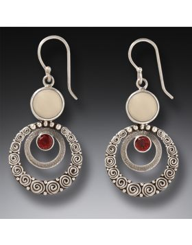 Mammoth Ivory Jewelry Garnet Silver Earrings - Ripples