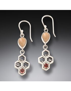 Red Garnet and Fossilized Walrus Ivory Earrings – Honeycomb