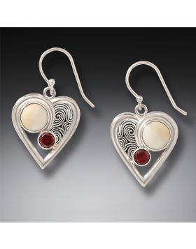 Fossilized Mammoth Ivory, Sterling Silver, Garnet Heart Earrings - Heartbeat