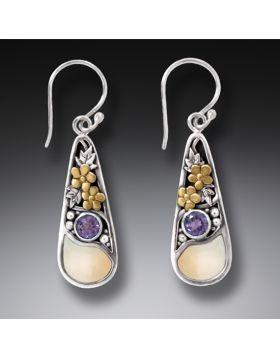Fossilized Walrus Ivory Silver Teardrop Earrings,14kt Gold Fill and Amethyst - First Rain
