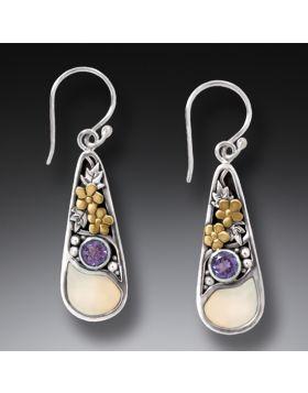 Mammoth Ivory Jewelry Silver Teardrop Earrings,14kt Gold Fill and Amethyst - First Rain