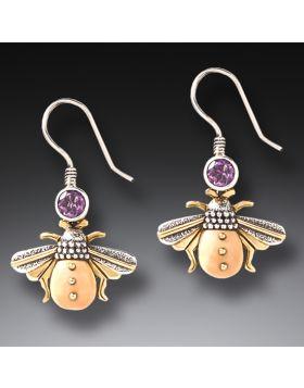 Fossilized Walrus Ivory Amethyst Bee Earrings - Amethyst Bees