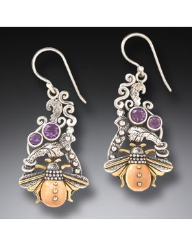Fossilized Walrus Ivory Amethyst Bee Earrings - Bee In the Garden
