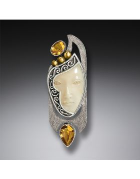 Enigma Pendant or Fossilized Walrus Ivory Pin, Citrine and Handmade Silver - Enigma