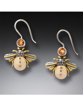 Fossilized Walrus Ivory and Silver Earrings - Honeybees