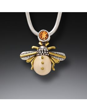 Fossilized Mammoth Ivory and Silver Pendant - Honeybee