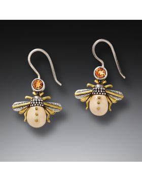 Fossilized Mammoth Ivory and Silver Earrings - Honeybees