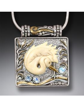 Mammoth Ivory Bird Locket, 14kt Gold Fill and Rainbow Moonstone - Egret