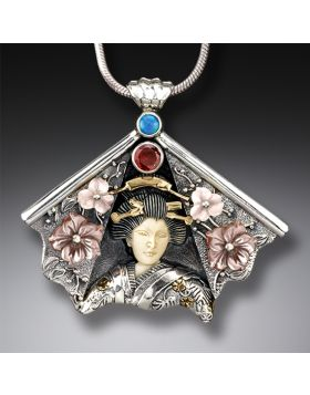 Ancient Ivory Mother of Pearl Geisha Necklace with Garnet, Opal, 14kt Gold Fill - Fan Geisha II
