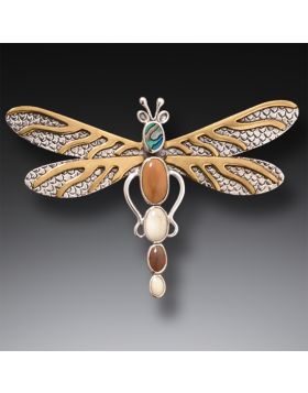 Silver Dragonfly Pin or Pendant Paua Jewelry with Mammoth Ivory - Dragonfly Dreams