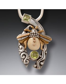 Mammoth Ivory Tusk Bee Necklace Silver and Peridot - Bee with Peridot