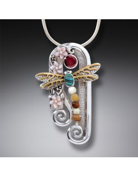 Fossilized Walrus Ivory Silver Dragonfly Pendant with Paua, Garnet, Mother of Pearl, and 14kt Gold Fill - Dragonfly Arch