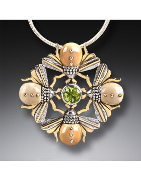 Fossilized Walrus Ivory Four Bees Necklace, 14kt Gold Fill and Peridot - Bee Mandala