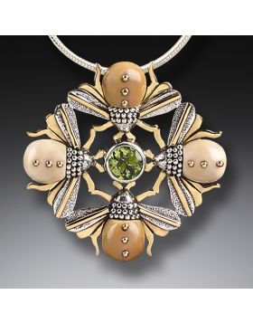 Mammoth Jewelry Four Bees Necklace, 14kt Gold Fill and Peridot - Bee Mandala