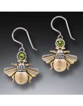 Fossilized Walrus Tusk Bee Earrings Silver, 14kt Gold Fill and Peridot - Bees