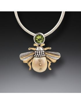 Fossilized Walrus Ivory Bee Necklace Silver with Peridot - Bee