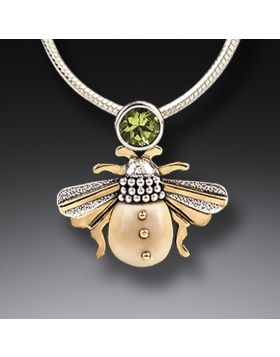 Mammoth Ivory Jewelry Bee Necklace Silver with Peridot - Bee