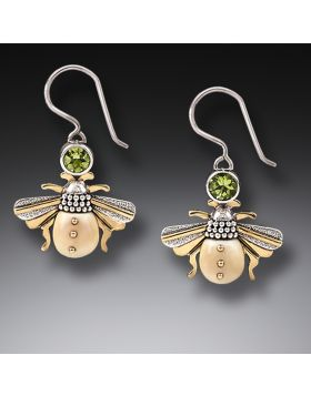Mammoth Ivory Tusk Bee Earrings Silver, 14kt Gold Fill and Peridot - Bees