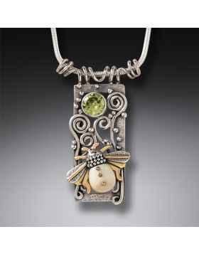 Fossilized Walrus Tusk Ivory Silver Bee Pendant, 14kt Gold Fill and Peridot - Bee Free