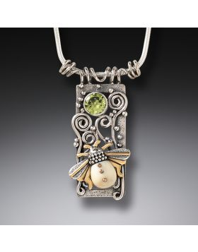 Mammoth Ivory Jewelry Silver Bee Pendant, 14kt Gold Fill and Peridot - Bee Free