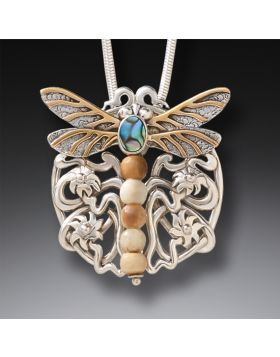 Fossilized Mammoth Ivory Dragonfly Pendant - Nouveau Dragonfly