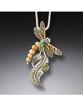 Fossilized walrus ivory dragonfly pendant - Iridescence