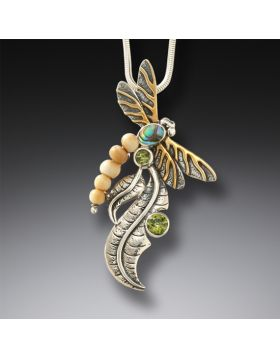 Fossilized mammoth ivory dragonfly pendant - Iridescence