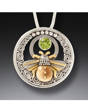 Fossilized Walrus Tusk Handmade Silver Bee Necklace with Peridot - Bee Inspired