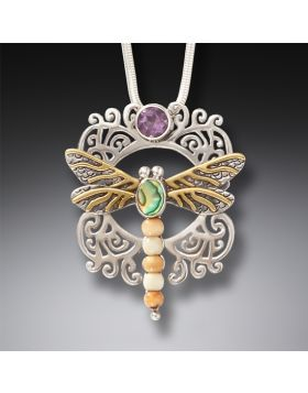 Ancient Mammoth Ivory Dragonfly and Amethyst Pendant - Garden Visitor